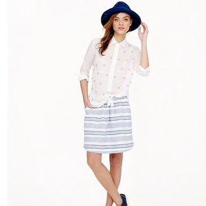 JCREW Boardwalk linen skirt in stripe